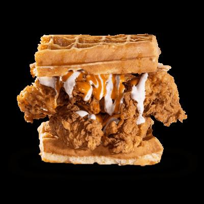 The chicken waffles sandwich